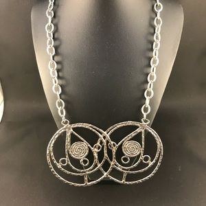 Vintage silver metal necklace with large circles